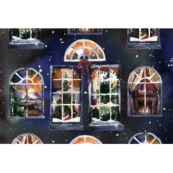 """Открытка """"В новогодних окнах"""""""